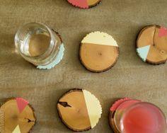 Image of Colorful Geometric Wood Slice Coaster Set