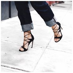 Denim and stilettos. And the LEGWRAP sandal. #inourshoes