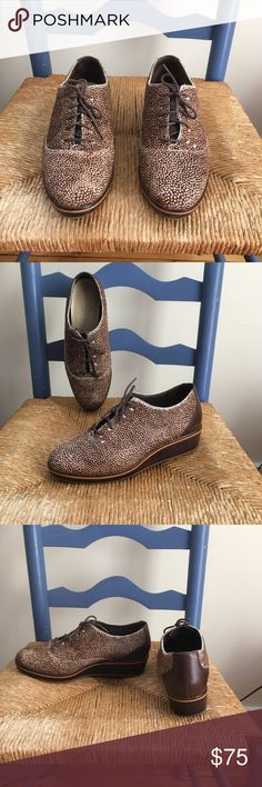 "Cole Haan Women's Size 8.5 Perfect for Fall! Size 8.5 Cole Haan leather and dyed cow fur 1"" lace-up wedges. In excellent used condition! Cole Haan Shoes Wedges"