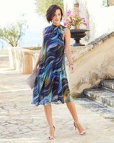 Joanna Hope Print Swing Dress   Fifty Plus