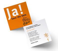 Die Hochzeit auf witzige Art und Weise bekannt geben. Mit dieser auffallenden Save the Date Karte gelingt dies garantiert. Die Comics, Farben und Texte lassen sich nach Belieben ändern. Save The Date Karten, Dating, Orange, Comics, Cover, Books, Card Wedding, Invitations, Colors