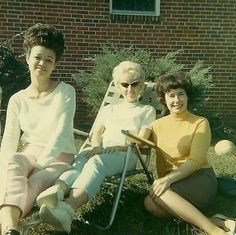 Sun bathing with granny, vintage 60s snapshot