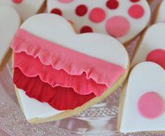 Cute ruffled fondant heart cookie--aking these!!