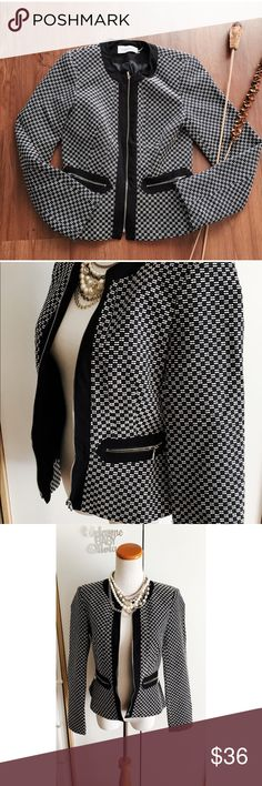 """Calvin Klein Black White Tweed Zip Up Jacket Calvin Klein Women Black White Tweed Zip Up Career Jacket Blazer Sz 2 EUC Classy tweed blazer by Calvin Klein. It features thin pad shoulder pad, front zipnpockets and zip closure.  Size label 2, measurements provided were laid flat and approx Length: 22.5"""" Pit to pit: 17"""" Shoulder across: 15"""" Sleeves: 23.5""""  🐼B-2🐼 Calvin Klein Jackets & Coats Blazers"""