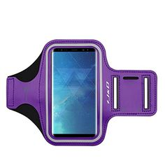 Galaxy Note 8 Armband, J&D Sports Armband for Samsung Galaxy Note 8, Key holder Slot, Perfect Earphone Connection while Workout Running - Purple