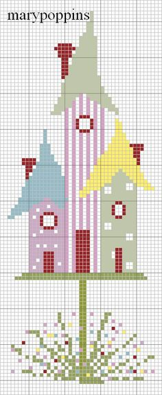 3 birdhouses free cross-stitch chart by mary poppins Cross Stitching, Cross Stitch Embroidery, Embroidery Patterns, Cross Stitch House, Cross Stitch Boards, Cross Stitch Designs, Cross Stitch Patterns, Cross Stitch Freebies, Cross Stitch Flowers