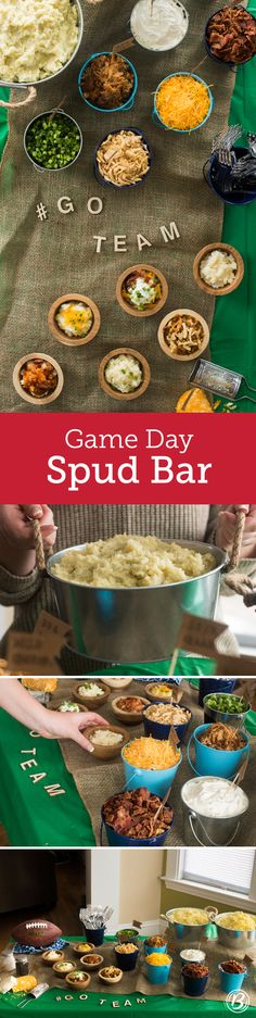 Whether you're a die-hard fan or just there for the party, football season… Game Day Snacks, Game Day Food, Mashed Potato Bar, Baked Potato, Appetizers For Party, Appetizer Recipes, Super Bowl Sunday, Football Food, Die Hard
