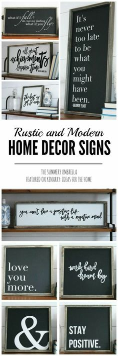 Rustic home decor signs. Create your own cottage chic, farmhouse, French country, black and white, wood signs, quotes. #ad #etsy #woodsigns