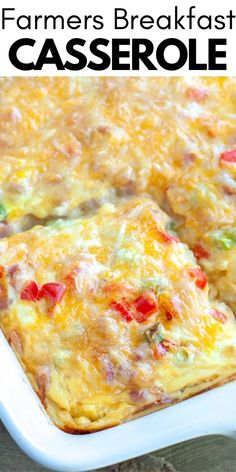 Breakfast casserole filled with cheese, vegetables and ham. This casserole is perfect for a crowd. I love serving this breakfast casserole during the holidays for brunch. Farmers Casserole, Casserole Recipes, Make Ahead Breakfast Casserole, Breakfast Recipes, Easy Brunch Recipes, Breakfast Burritos, Best Breakfast, Breakfast Ideas, Dinner Recipes
