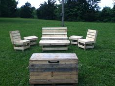 Handmade pallet patio furniture and trunk!
