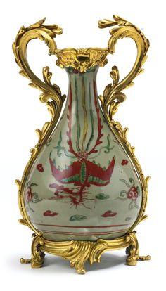 A Louis XV ormolu-mounted Chinese celadon glazed porcelain vase the mounts circa 1750, the porcelain 17th/18th century