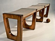rustic-modern reclaimed bowling alley lane wood bench