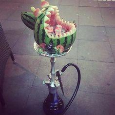 Watermelon Hookah shisha bowl decorated on top of a modern hookah pipe!