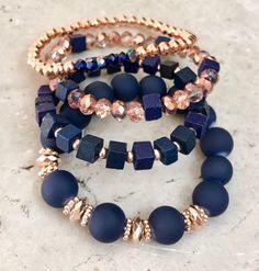 made accessories bracelet Shabby Chic Rose Gold Stackable Bracelet Set, Rose Gold Bead Bracelet, Gemstone Bracelets, Chunk Nugget Beads, Christmas gift Diy Beaded Bracelets, Stackable Bracelets, Gemstone Bracelets, Handmade Bracelets, Gemstone Jewelry, Beaded Jewelry, Handmade Jewelry, Jewelry Necklaces, Colorful Bracelets