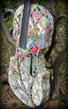 Mosaic Violin  Classic Shabby Chic Vintage Floral by tomrass4