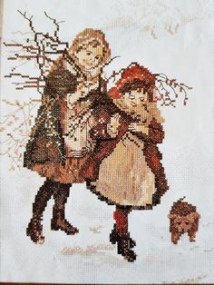 Lanarte cross stitch of children gathering wood in the snow with multilingual instructions on 10 count even weave brought to you by KindredClassics on Etsy Large Envelope, 10 Count, Needlepoint Kits, Dutch, Weaving, Cross Stitch, Stitch Kit, Wood, How To Make