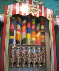 At the Harry Potter Theme Park, fans can find Bertie Botts Every Flavour Beans on sale. Harry Potter Theme Park, Harry Potter Candy, Every Flavor Beans, Jar, Restaurants, Sweets, Magic, Vacation, Places