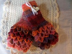 Fingerless gloves,  crochet mittens,  wristwarmer gloves,  dark autumn colour,   autumn gloves , handmade gloves,  crocodile stitch by MaddisonsRainbow on Etsy