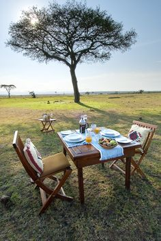 Breakfast on the Masai Mara Plains - Kenya Out Of Africa, East Africa, Kenya Africa, Honeymoon Style, In And Out Movie, Game Reserve, African Countries, Al Fresco Dining, African Safari
