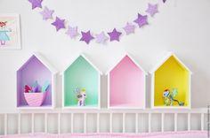 Купить Домики -конфетки - бледно-розовый, полки домики, полка домик, домик, из дерева, из фанеры