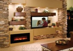 tv and fireplace on same wall - Google Search