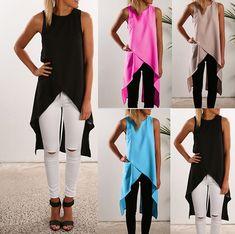 Asymmetric Cross Tank Tops Chiffon Vest Women Fashion