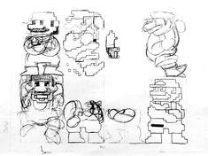 Shigeru Miyamoto's original sketches for Super Mario Bros. Super Mario Brothers, Super Mario Bros, Shigeru Miyamoto, Character Modeling, Video Game Art, Concept Art, Sprites, Sketches, The Originals