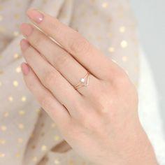 gold ring set of TWO. chevron diamond ring. gold filled stacking rings. engagement ring wedding ring set. modern geometric gold rings.