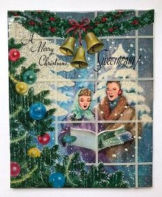 Rare Large Marjorie Cooper Vintage Christmas Card Window Couple Girl Tree Snow