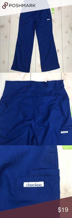"04fa5d5c64762 NWT Cherokee Blue Maternity Scrub Pants Small Cherokee brand Size women's  Small 15.5"" across waist"