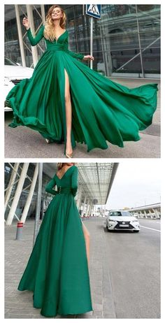 Simple Prom Dresses, a line v neck hunter prom dress satin simple evening dress party dress LBridal Pageant Dresses For Teens, 2 Piece Homecoming Dresses, Prom Dress Stores, Long Prom Gowns, Tulle Prom Dress, Dress Party, Boho Dress, Party Dresses, Dresses Elegant