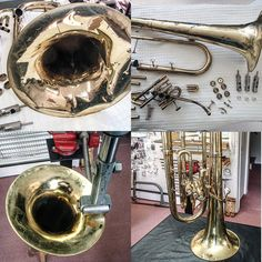 Baryton entièrement débosselé / Dents completely removed from baritone horn Instruments, Horns, Music, Antlers, Horn, Musical Instruments, Crescent Rolls, Tools