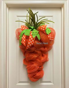 Easter Wreath Carrot Wreath Spring Wreath Front by StaciesStash