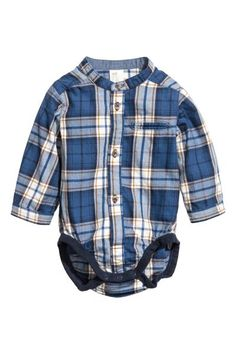 Skjortbody - Blå/Rutig -   H&M SE 1