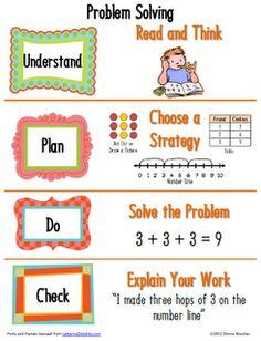 Primary Problem Solving Poster - Math Coach-s Corner Classroom Freebies, Math Classroom, Kindergarten Math, Teaching Math, Teaching Ideas, Classroom Ideas, Guided Maths, Teaching Measurement, Math 2