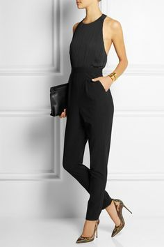 Alice + Olivia - Angen pleated chiffon and crepe jumpsuit Look Fashion, Fashion Outfits, Womens Fashion, Clothes For Women In 30's, Casual Outfits, Cute Outfits, Jumpsuit Dress, Black Jumpsuit Outfit Night, Looks Style