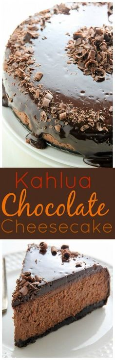 Oreo Crusted Chocolate Cheesecake topped with Chocolate Ganache and spiked with Kahlua