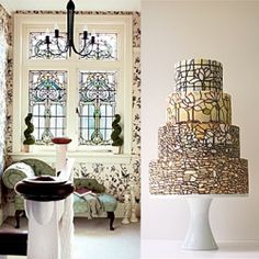 From board games to stained glass, see how just about anything can inspire your wedding cake design. Photos by Period Living & Maggie Austin