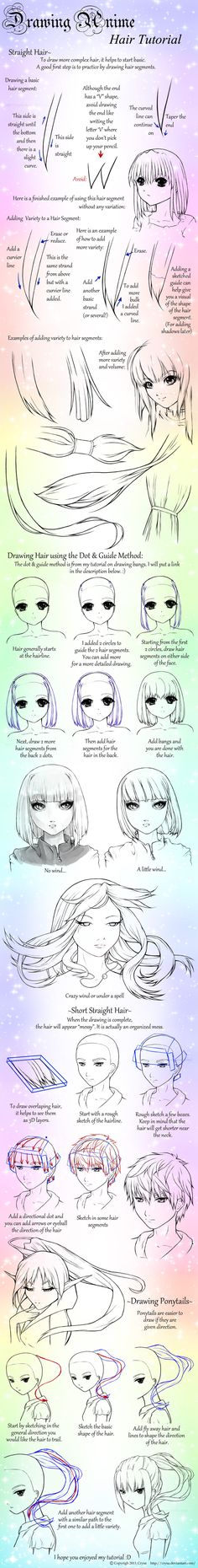 Drawing Anime: Straight Hair and Ponytails by ~Crysa on deviantART