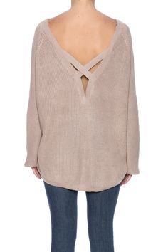 Mocha long sleeve sweater with a boat neckline, v-back and crisscross back straps.   Strap Back Sweater by Mono B. Clothing - Sweaters - Crew & Scoop Neck Manhattan, New York City New York City