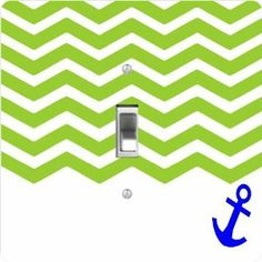 """Rikki KnightTM 3D Chevron Green on White with Anchor - Single Toggle Light Switch Cover by Rikki Knight. $13.99. Masonite Hardboard Material. Glossy Finish. For use on Walls (screws not included). 5""""x 5""""x 0.18"""". Washable. The 3D Chevron Green on White with Anchor single toggle light switch cover is made of commercial vibrant quality masonite Hardboard that is cut into 5"""" Square with 1'8"""" thick material. The Beautiful Art Photo Reproduction is printed directly into ..."""