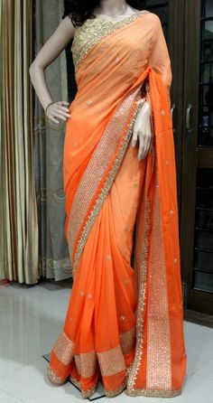 Shaded georgette saree with stone work.  Contact us at askbhama@gmail.com for more details or whatsapp @ 9010396655