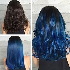 "FORMULA: Blue Sombre - Hair Color Vanessa ( of the Butterfly Loft Salon in Encino, Ca. says that client Jessica wanted a change. ""She was very excited for a fashion color,\"" says Vanessa. \""She kept saying she was screaming with joy . Sombre Hair Color, Hair Color Blue, Cool Hair Color, Purple Hair, Gray Hair, Pastel Hair, Dark Blue Hair, White Hair, Straight Hair"