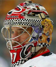 Stops and Looks: 50 Best Goalie Mask Designs Ever Hockey Helmet, Hockey Goalie, Ice Hockey, Football Helmets, North Carolina Hurricanes, Nhl, Hurricanes Hockey, Goalie Mask, Masked Man