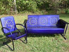 blue glider and chair-vintage