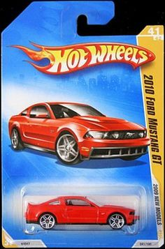 HOT WHEELS 2009 NEW MODELS RED 2010 FORD MUSTANG GT 41 OF 42 #041/190 by HOT WHEELS. $7.69. HOT WHEELS 2009 NEW MODELS 2010 FORD MUSTANG GT. BACK OF PKG READS: WITH GRILLE-MOUNTED DRIVING LIGHTS, REAR SPOILER, POWER DOME HOOD, AND A 4.6L V8 ENGINE, THIS FASTBACK COUPE WAS MADE TO BRING MUSCLE BACK TO THE STREETS.