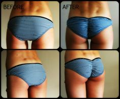 DIY scrunched bikini bottoms - Now that I know how to sew, all of Dawn's swimsuit bottoms and panties are going to get this treatment.