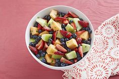 This fruit salad tossed with lemonade drink mix will appeal to all kinds of fruit lovers. (Us? We love the directions: Combine ingredients.)