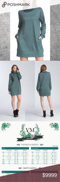 🆕COMING SOON🆕Cowl Neck Dress in Hunter Green 🆕COMING SOON🆕Cowl Neck Dress in Hunter Green Color ~ Hunter Green  Fabric ~ 62% Polyester / 34% Rayon / 4% Spandex  Imported.  Be both comfy and fashionable with this amazing dress!! With its loose fit and stylish cut, this dress can be worn anywhere and any time!!🍂🍂🍂🍂 Benson Boutique Dresses Mini