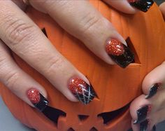 halloween nail art designs | happy halloween hot pink glitter tips halloween halloween halloween ...